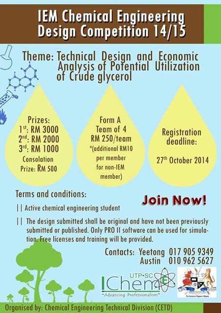 Iem Chemical Engineering Design Competition 2014 2015 Icheme Utp Sc